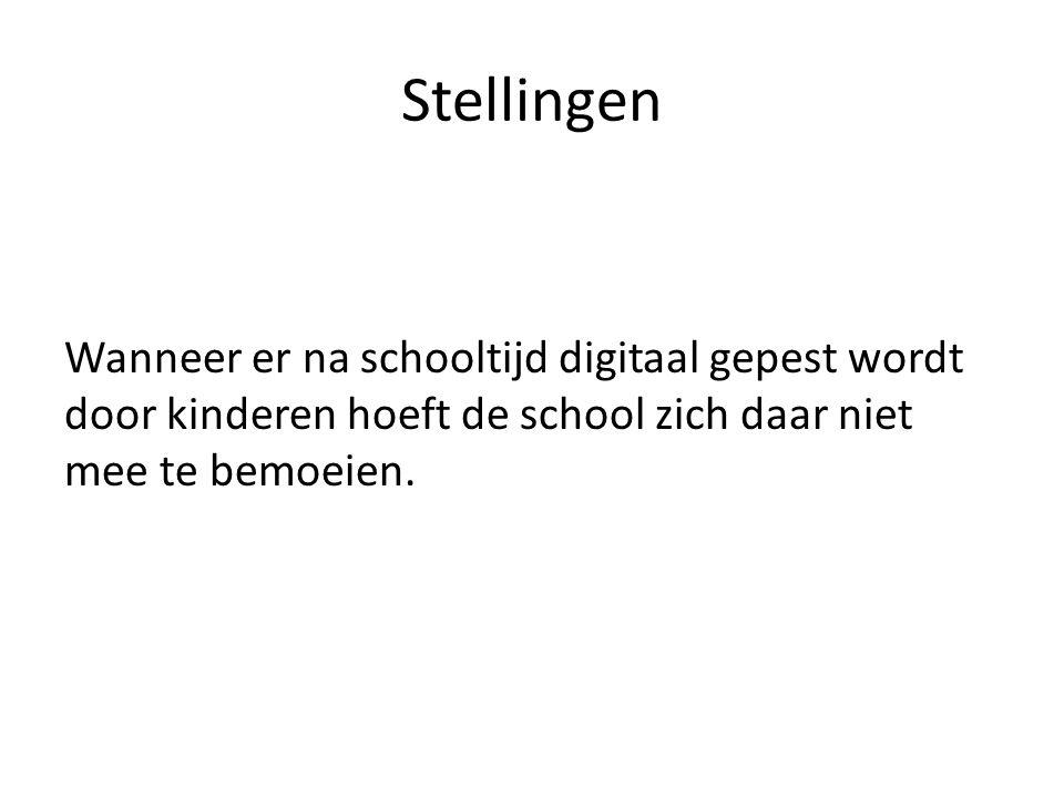Stellingen Wanneer er na schooltijd digitaal gepest wordt door kinderen hoeft de school zich daar niet mee te bemoeien.