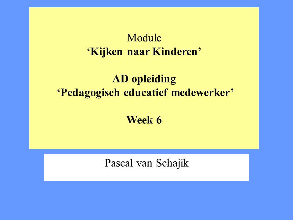 Module 'Kijken naar Kinderen' AD opleiding 'Pedagogisch educatief medewerker' Week 6 Pascal van Schajik