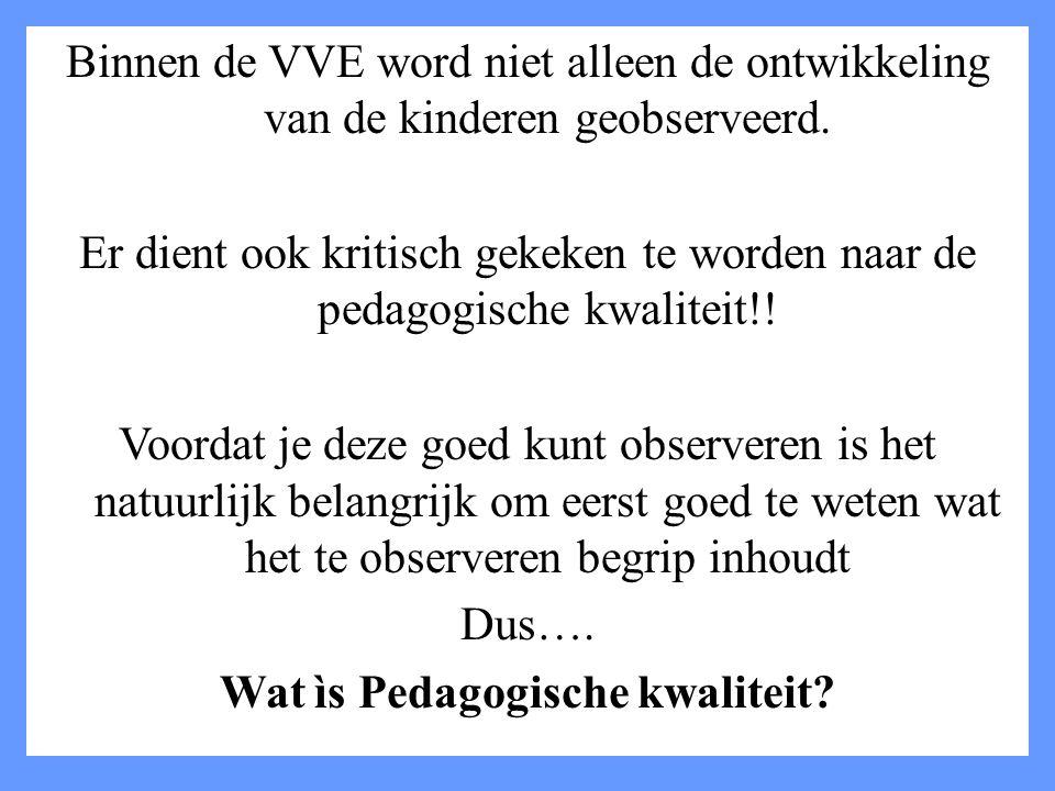 Binnen de VVE word niet alleen de ontwikkeling van de kinderen geobserveerd. Er dient ook kritisch gekeken te worden naar de pedagogische kwaliteit!!