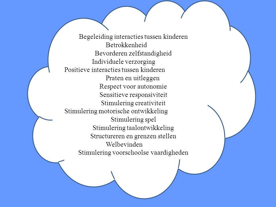 Begeleiding interacties tussen kinderen Betrokkenheid Bevorderen zelfstandigheid Individuele verzorging Positieve interacties tussen kinderen Praten e
