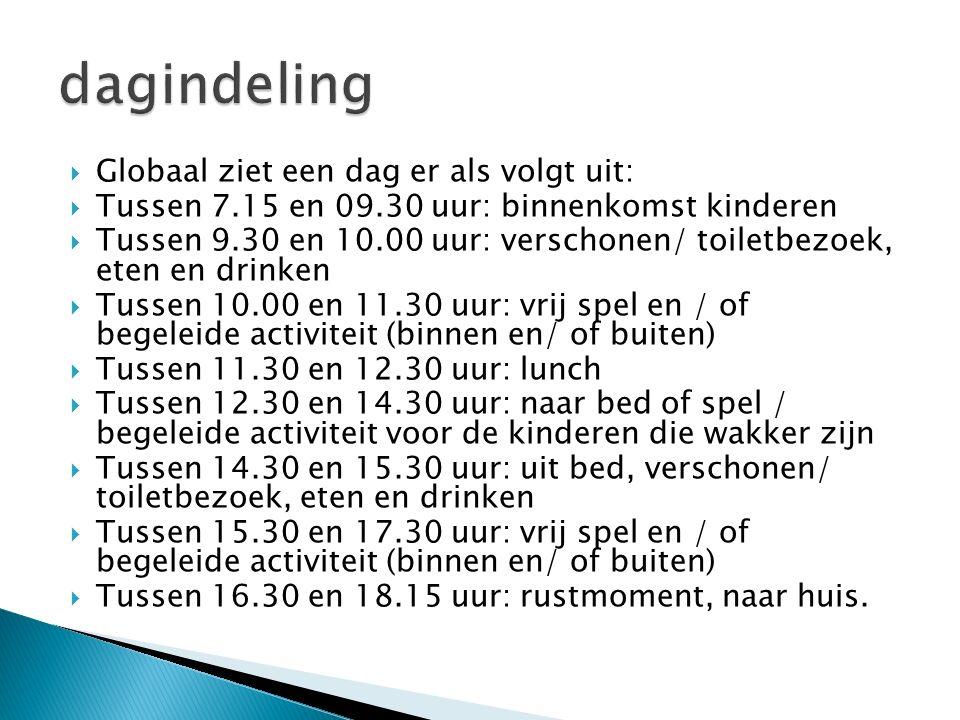  Globaal ziet een dag er als volgt uit:  Tussen 7.15 en 09.30 uur: binnenkomst kinderen  Tussen 9.30 en 10.00 uur: verschonen/ toiletbezoek, eten e