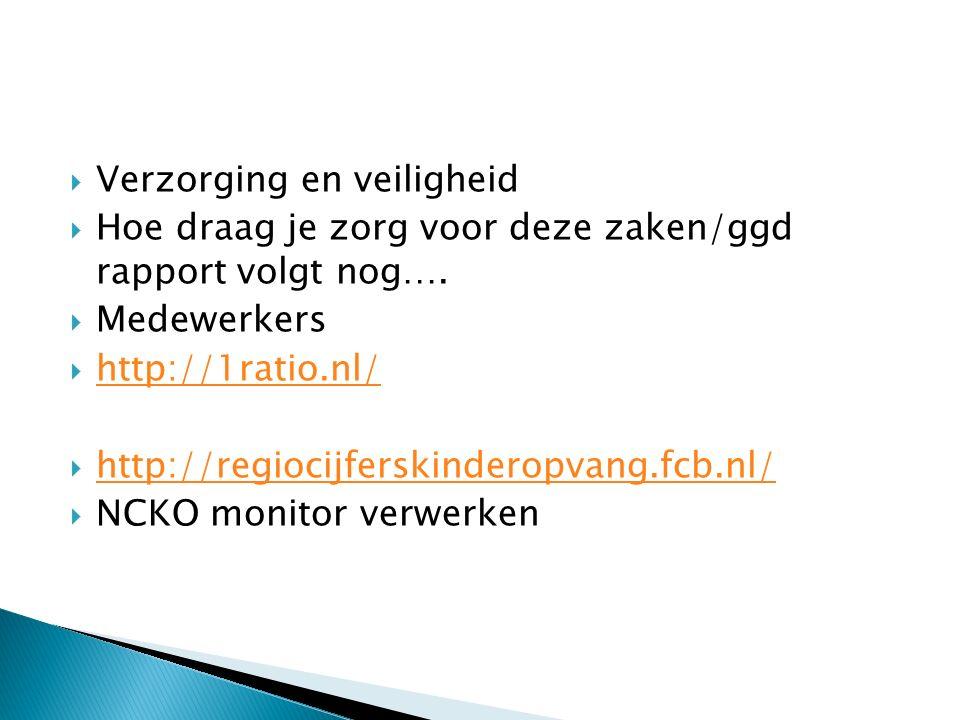  Verzorging en veiligheid  Hoe draag je zorg voor deze zaken/ggd rapport volgt nog….  Medewerkers  http://1ratio.nl/ http://1ratio.nl/  http://re