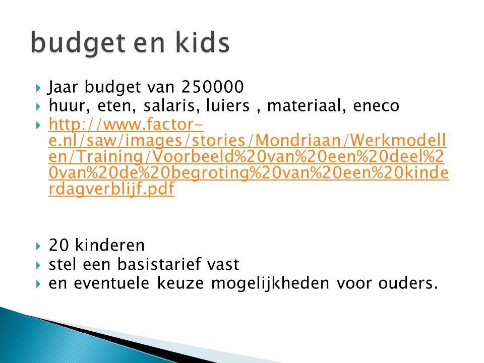  Jaar budget van 250000  huur, eten, salaris, luiers, materiaal, eneco  http://www.factor- e.nl/saw/images/stories/Mondriaan/Werkmodell en/Training