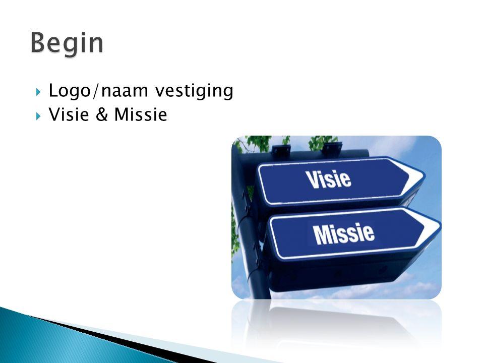  Logo/naam vestiging  Visie & Missie