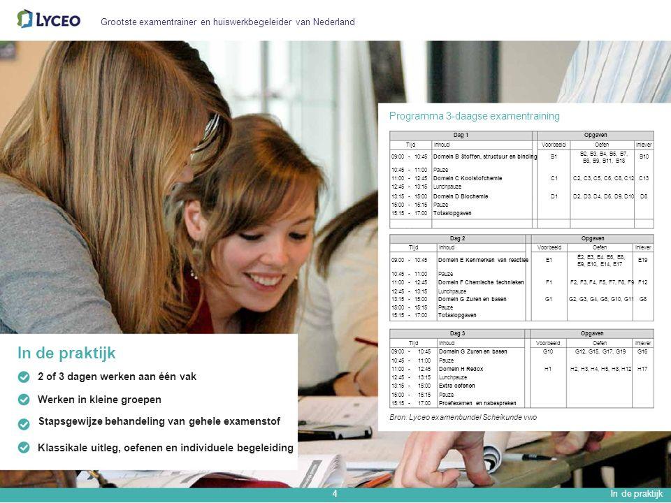 Grootste examentrainer en huiswerkbegeleider van Nederland Programma 3-daagse examentraining Dag 1Opgaven TijdInhoudVoorbeeldOefenInlever 09:00-10:45Domein B Stoffen, structuur en bindingB1 10:45-11:00Pauze 11:00-12:45Domein C KoolstofchemieC1 12:45-13:15Lunchpauze 13:15-15:00Domein D BiochemieD1 15:00-15:15Pauze 15:15-17:00Totaalopgaven B2, B3, B4, B5, B7, B8, B9, B11, B18 C2, C3, C5, C6, C8, C12 D2, D3.