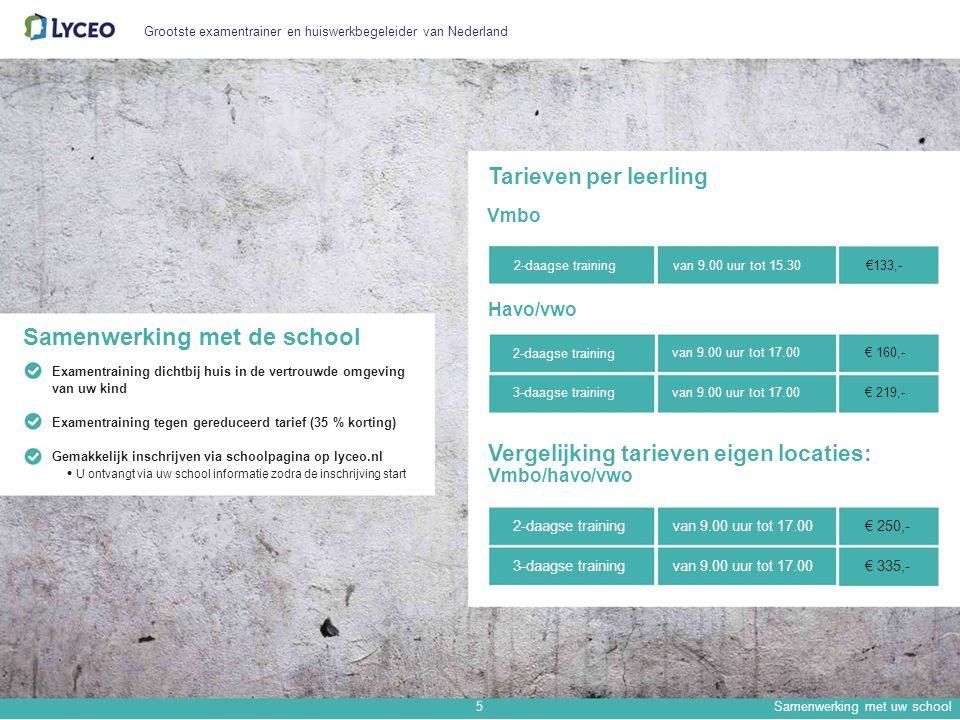 Grootste examentrainer en huiswerkbegeleider van Nederland Tarieven per leerling Vmbo Samenwerking met de school Examentraining dichtbij huis in de vertrouwde omgeving van uw kind Examentraining tegen gereduceerd tarief (35 % korting) 2-daagse training Havo/vwo 2-daagse training 3-daagse training van 9.00 uur tot 15.30€133,- van 9.00 uur tot 17.00€ 160,- van 9.00 uur tot 17.00€ 219,- Gemakkelijk inschrijven via schoolpagina op lyceo.nl U ontvangt via uw school informatie zodra de inschrijving start Vergelijking tarieven eigen locaties: Vmbo/havo/vwo 2-daagse trainingvan 9.00 uur tot 17.00€ 250,- 3-daagse trainingvan 9.00 uur tot 17.00€ 335,- 5Samenwerking met uw school