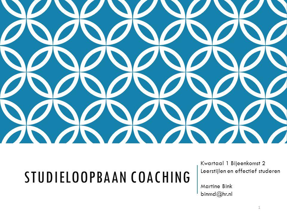 STUDIELOOPBAAN COACHING Kwartaal 1 Bijeenkomst 2 Leerstijlen en effectief studeren Martine Bink binmd@hr.nl 1