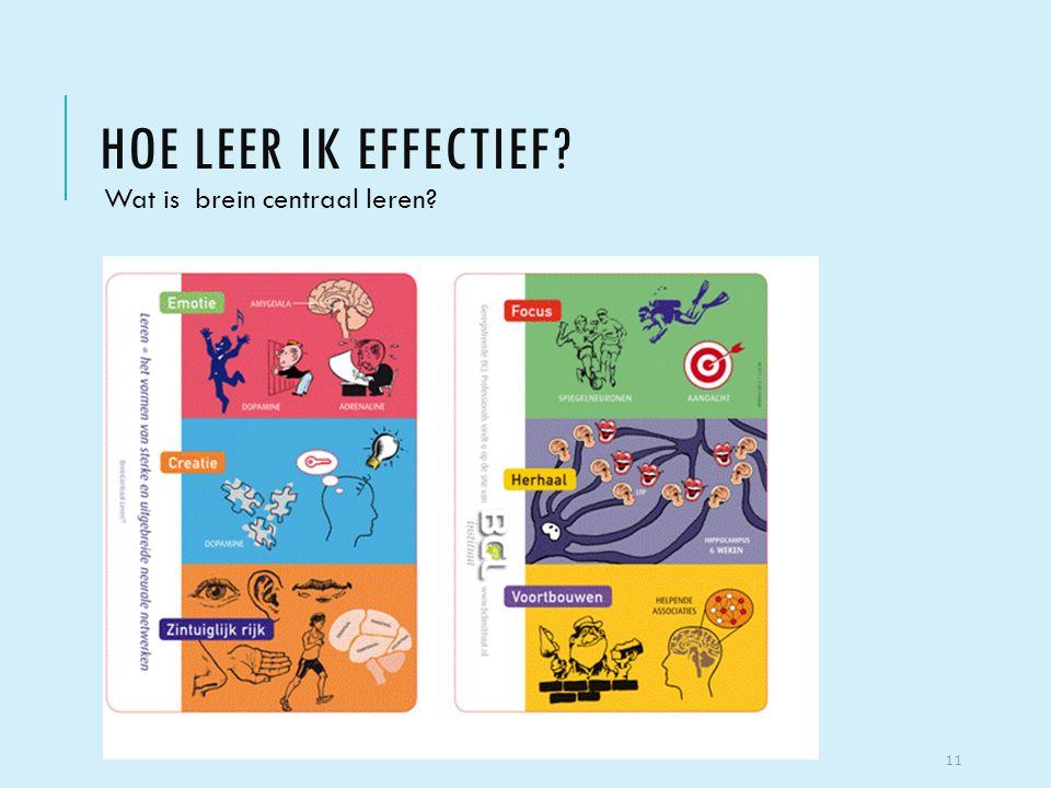 HOE LEER IK EFFECTIEF? Wat is brein centraal leren? 11