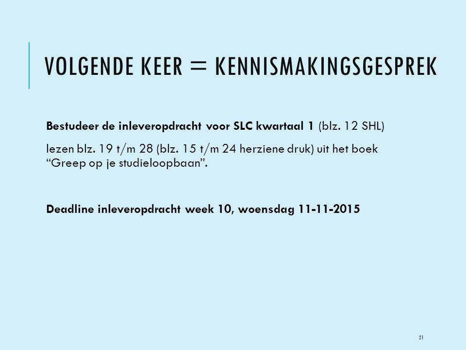 VOLGENDE KEER = KENNISMAKINGSGESPREK Bestudeer de inleveropdracht voor SLC kwartaal 1 (blz. 12 SHL) lezen blz. 19 t/m 28 (blz. 15 t/m 24 herziene druk