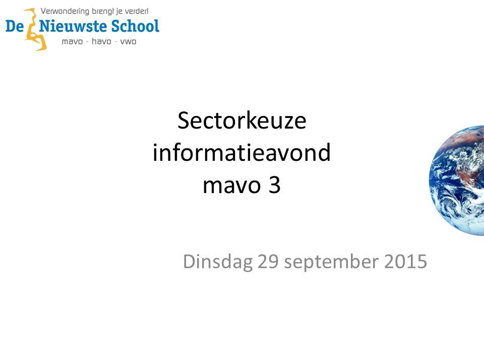 Sectorkeuze informatieavond mavo 3 Dinsdag 29 september 2015
