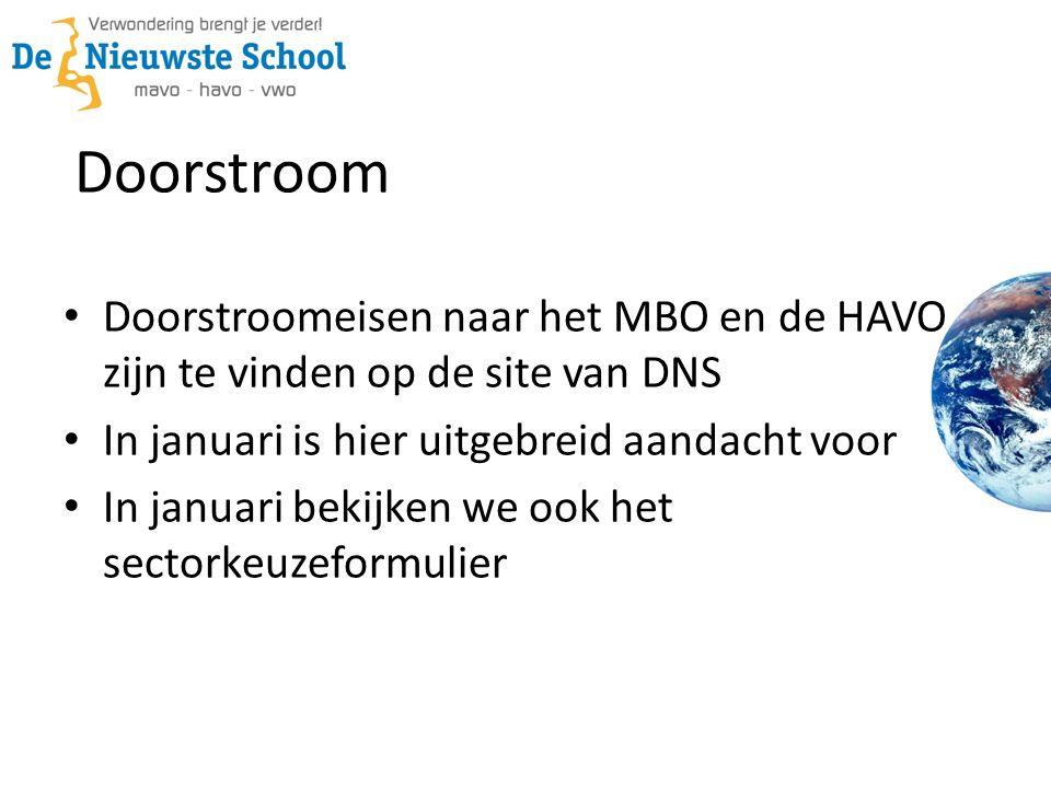 Doorstroom Doorstroomeisen naar het MBO en de HAVO zijn te vinden op de site van DNS In januari is hier uitgebreid aandacht voor In januari bekijken w