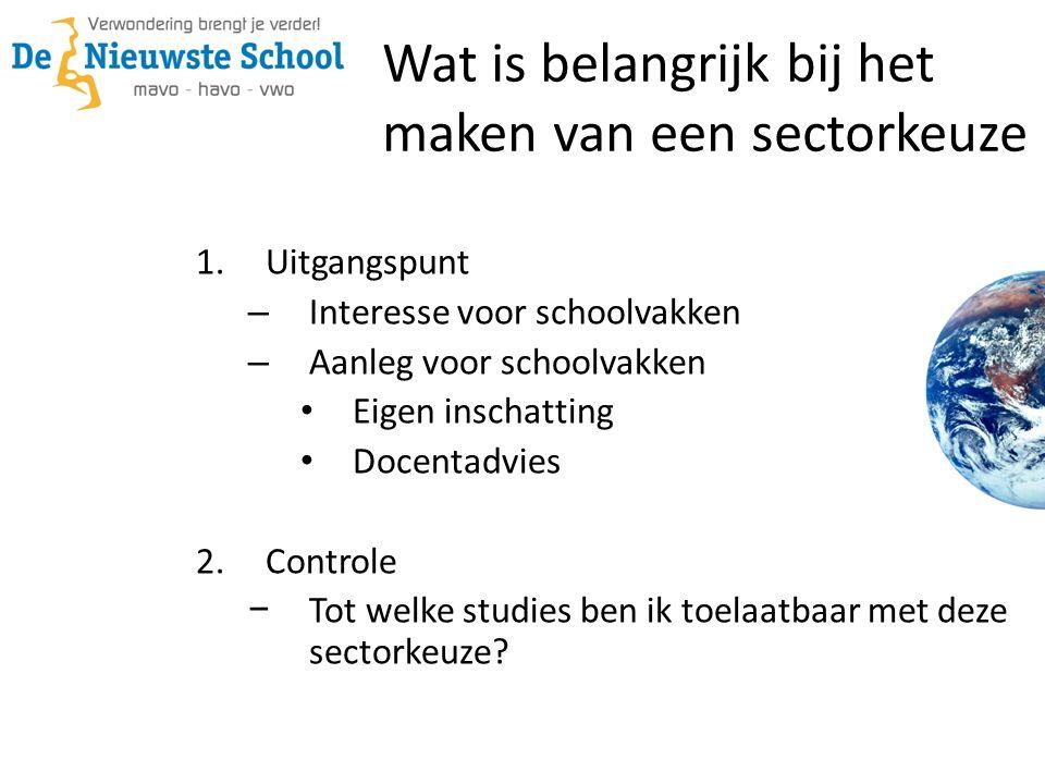 1.Uitgangspunt – Interesse voor schoolvakken – Aanleg voor schoolvakken Eigen inschatting Docentadvies 2.Controle − Tot welke studies ben ik toelaatbaar met deze sectorkeuze.
