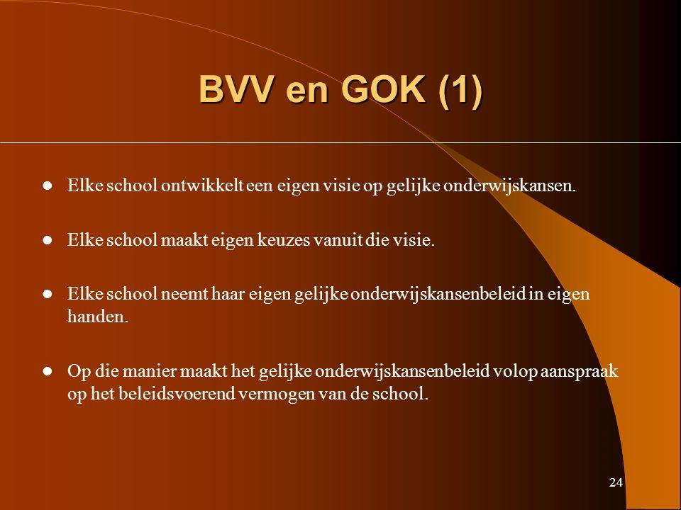 24 BVV en GOK (1) Elke school ontwikkelt een eigen visie op gelijke onderwijskansen.