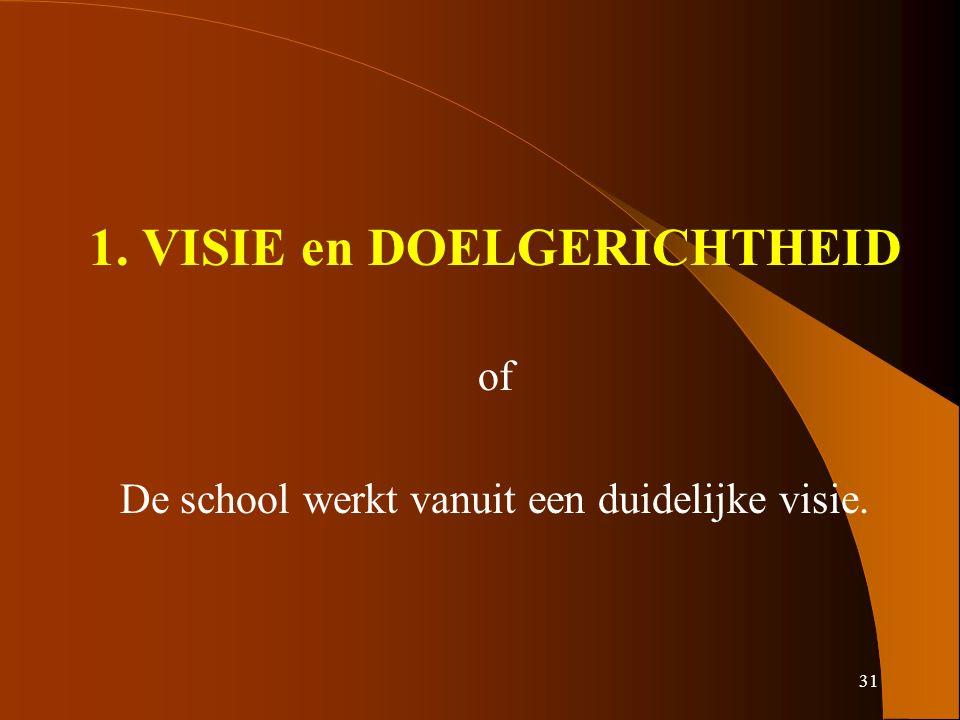 31 1. VISIE en DOELGERICHTHEID of De school werkt vanuit een duidelijke visie.