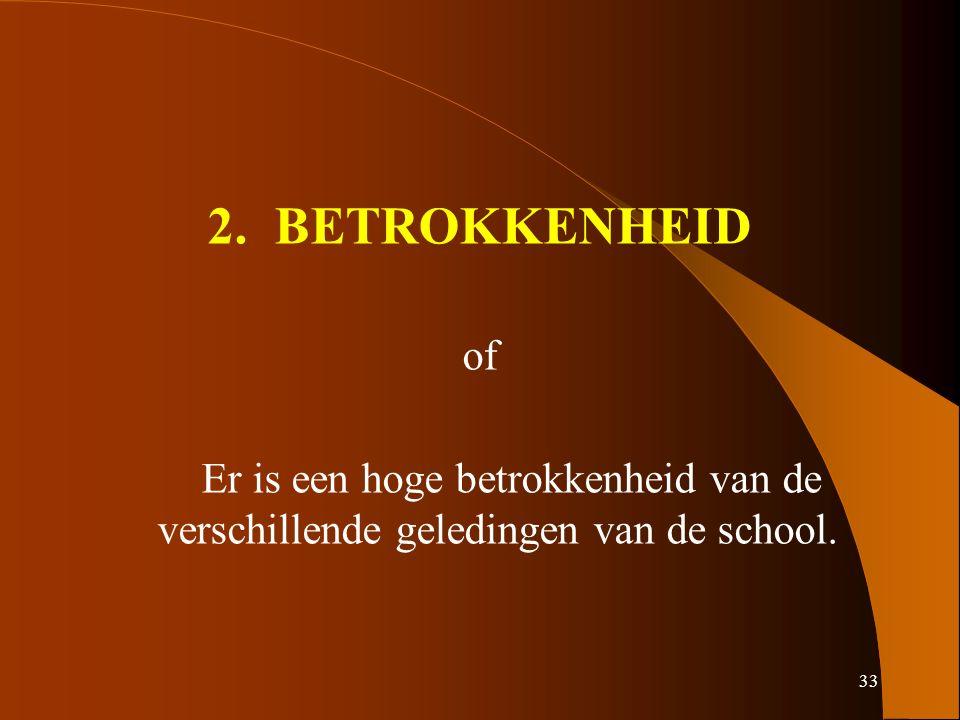 33 2. BETROKKENHEID of Er is een hoge betrokkenheid van de verschillende geledingen van de school.