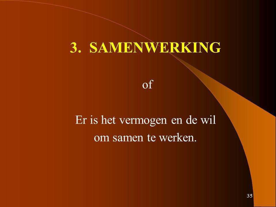 35 3. SAMENWERKING of Er is het vermogen en de wil om samen te werken.