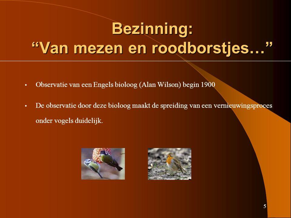 5 Bezinning: Van mezen en roodborstjes… Observatie van een Engels bioloog (Alan Wilson) begin 1900 De observatie door deze bioloog maakt de spreiding van een vernieuwingsproces onder vogels duidelijk.