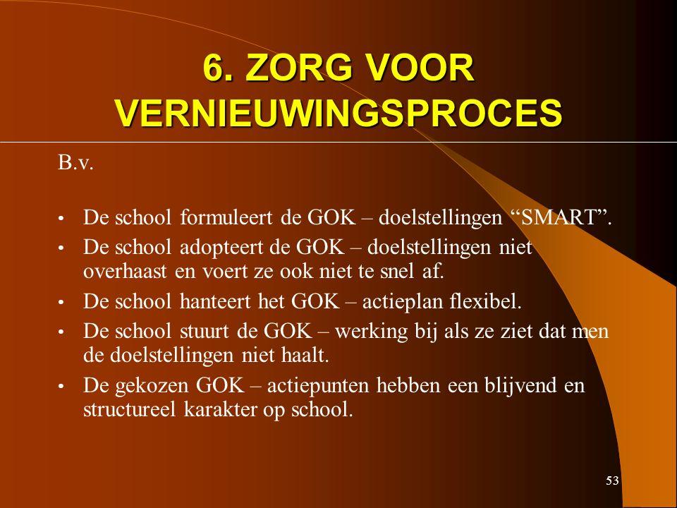 53 6. ZORG VOOR VERNIEUWINGSPROCES B.v. De school formuleert de GOK – doelstellingen SMART .