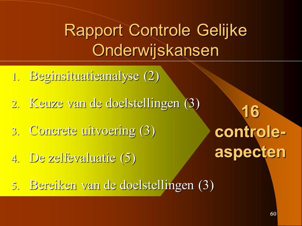 60 Rapport Controle Gelijke Onderwijskansen 1. Beginsituatieanalyse (2) 2.