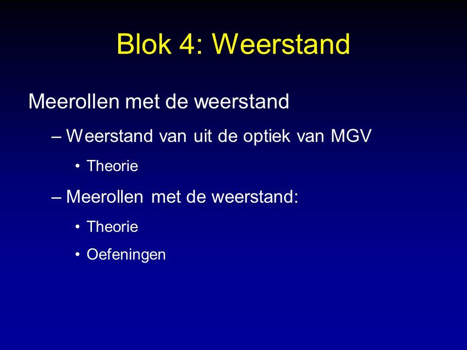 Blok 4: Weerstand Meerollen met de weerstand –Weerstand van uit de optiek van MGV Theorie –Meerollen met de weerstand: Theorie Oefeningen