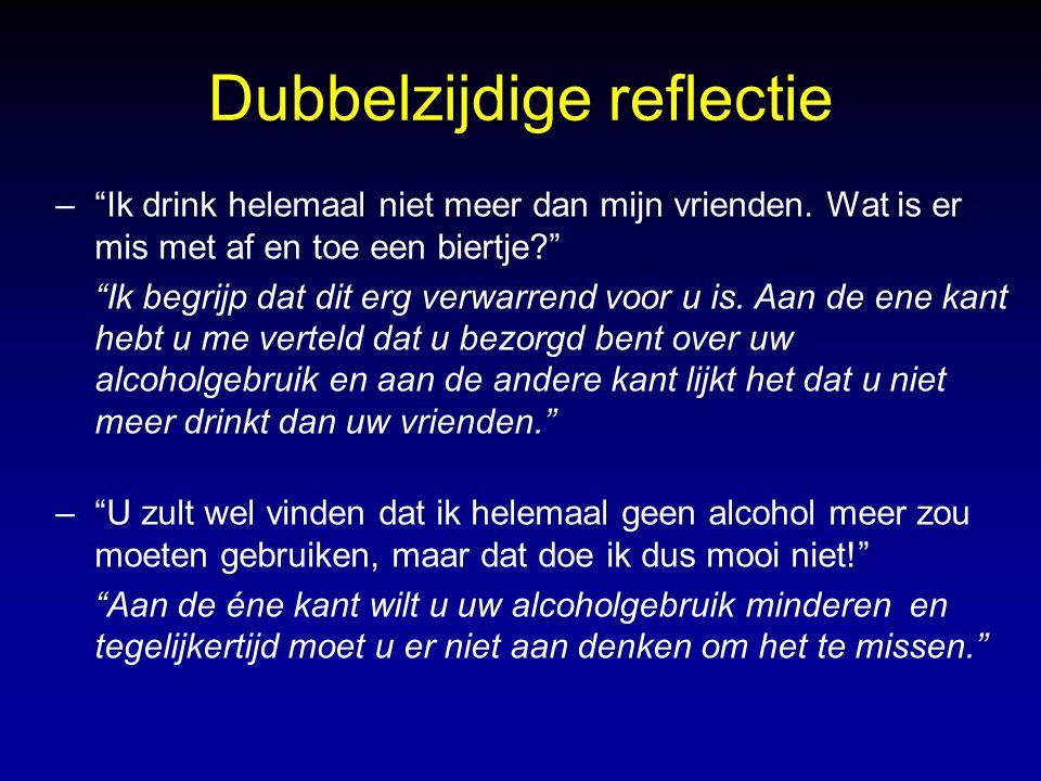 Dubbelzijdige reflectie – Ik drink helemaal niet meer dan mijn vrienden.