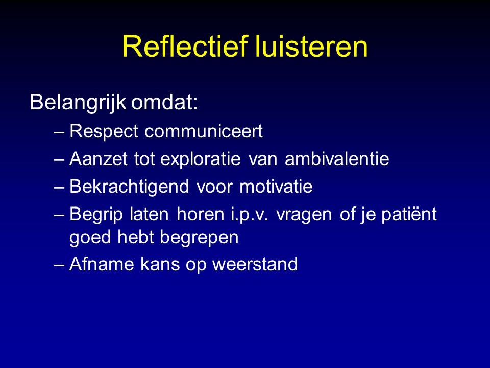 Reflectief luisteren Belangrijk omdat: –Respect communiceert –Aanzet tot exploratie van ambivalentie –Bekrachtigend voor motivatie –Begrip laten horen