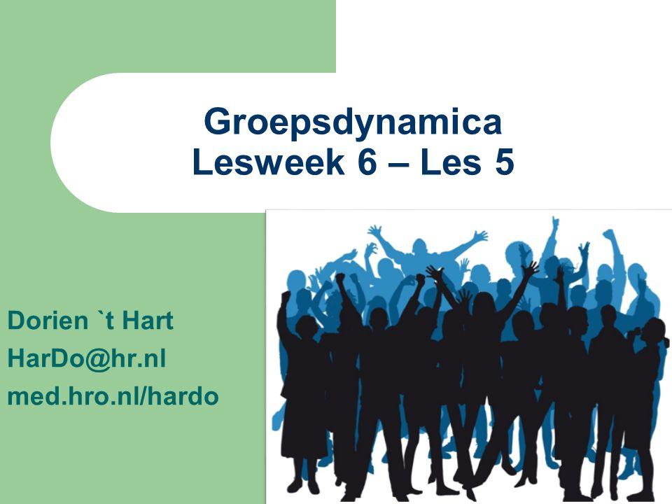 Dorien `t Hart HarDo@hr.nl med.hro.nl/hardo Groepsdynamica Lesweek 6 – Les 5
