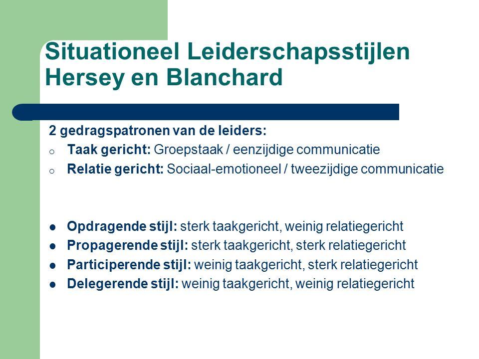 Situationeel Leiderschapsstijlen Hersey en Blanchard 2 gedragspatronen van de leiders: o Taak gericht: Groepstaak / eenzijdige communicatie o Relatie