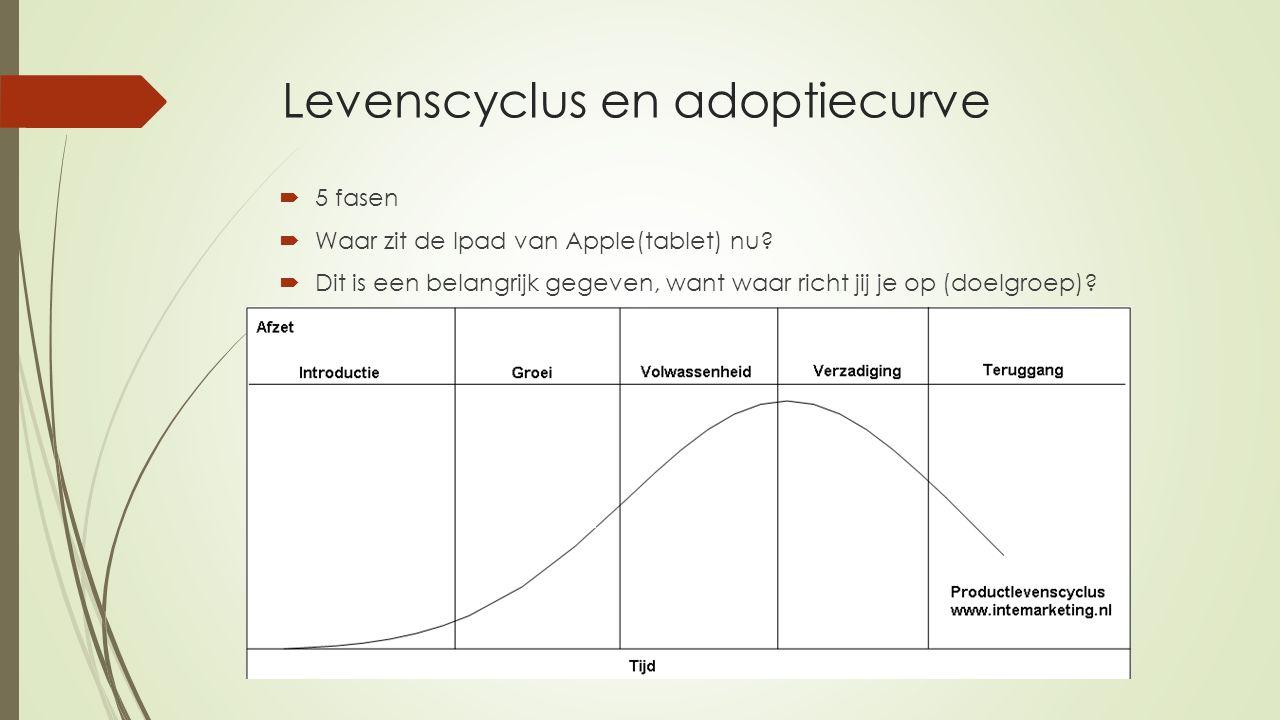 Levenscyclus en adoptiecurve  5 fasen  Waar zit de Ipad van Apple(tablet) nu?  Dit is een belangrijk gegeven, want waar richt jij je op (doelgroep)