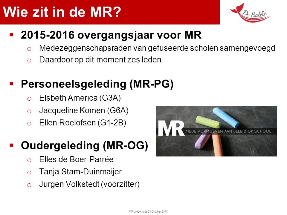 MR presentatie 29 Oktober 2015 Wie zit in de MR.