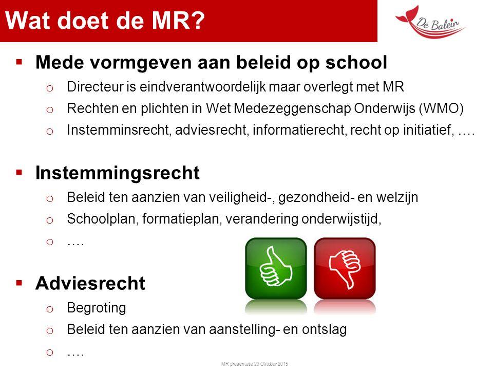 MR presentatie 29 Oktober 2015  Mede vormgeven aan beleid op school o Directeur is eindverantwoordelijk maar overlegt met MR o Rechten en plichten in