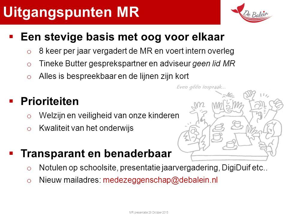 MR presentatie 29 Oktober 2015 Uitgangspunten MR  Een stevige basis met oog voor elkaar o 8 keer per jaar vergadert de MR en voert intern overleg o T