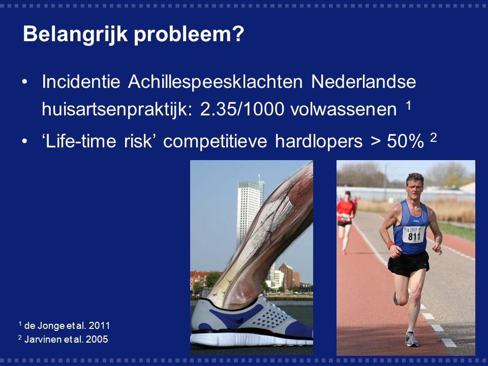 Belangrijk probleem? Incidentie Achillespeesklachten Nederlandse huisartsenpraktijk: 2.35/1000 volwassenen 1 'Life-time risk' competitieve hardlopers