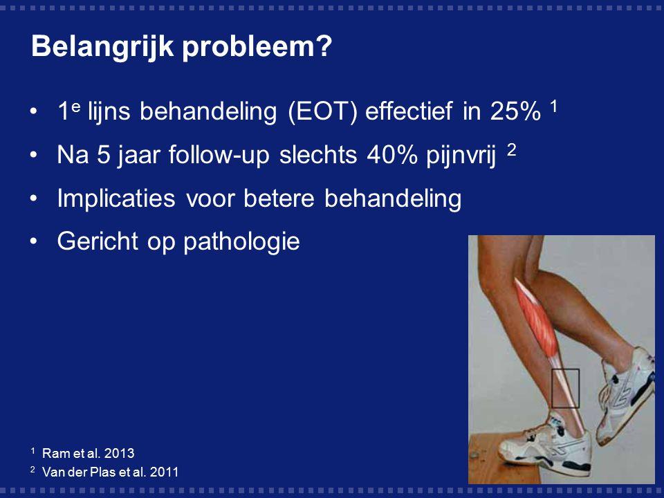 Belangrijk probleem? 1 e lijns behandeling (EOT) effectief in 25% 1 Na 5 jaar follow-up slechts 40% pijnvrij 2 Implicaties voor betere behandeling Ger