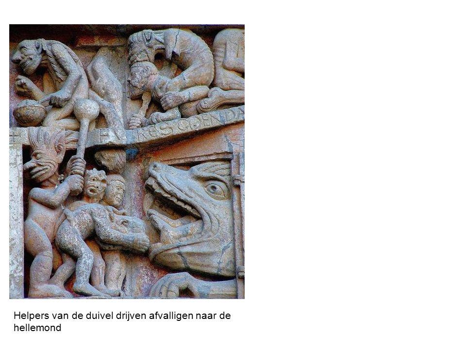 Helpers van de duivel drijven afvalligen naar de hellemond