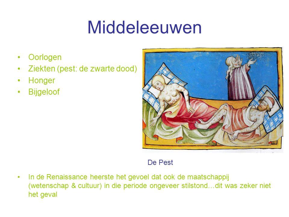 Middeleeuwen Oorlogen Ziekten (pest: de zwarte dood) Honger Bijgeloof In de Renaissance heerste het gevoel dat ook de maatschappij (wetenschap & cultuur) in die periode ongeveer stilstond…dit was zeker niet het geval De Pest