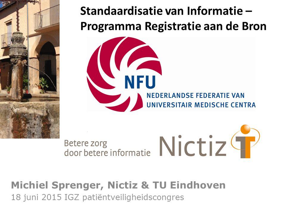 Registratie aan de Bron Michiel Sprenger, Nictiz & TU Eindhoven 18 juni 2015 IGZ patiëntveiligheidscongres Standaardisatie van Informatie – Programma Registratie aan de Bron