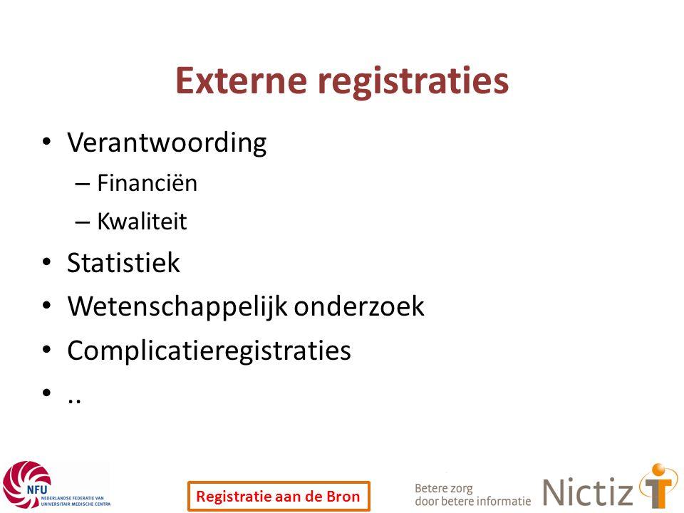 Registratie aan de Bron Externe registraties Verantwoording – Financiën – Kwaliteit Statistiek Wetenschappelijk onderzoek Complicatieregistraties..