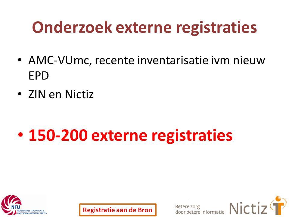 Registratie aan de Bron Onderzoek externe registraties AMC-VUmc, recente inventarisatie ivm nieuw EPD ZIN en Nictiz 150-200 externe registraties