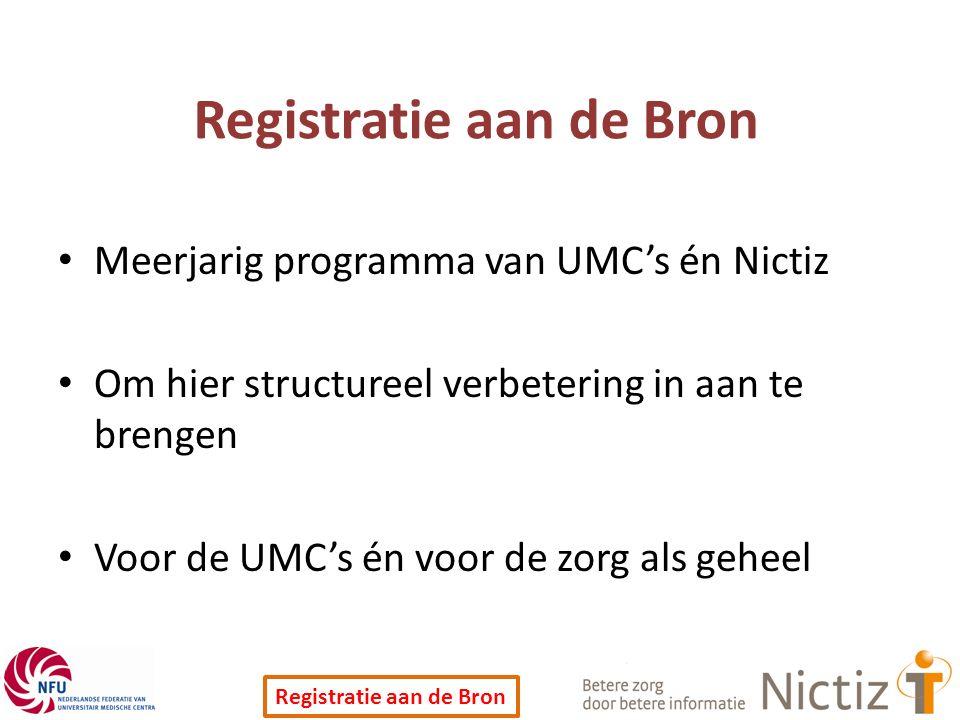 Registratie aan de Bron Meerjarig programma van UMC's én Nictiz Om hier structureel verbetering in aan te brengen Voor de UMC's én voor de zorg als geheel