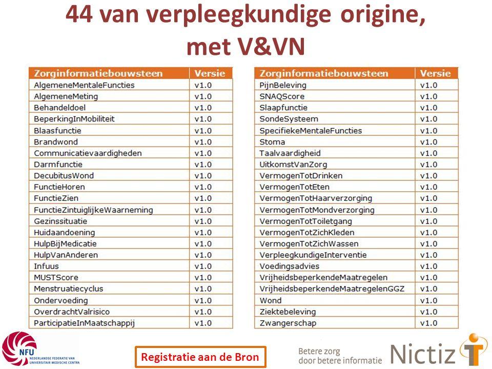 Registratie aan de Bron 44 van verpleegkundige origine, met V&VN