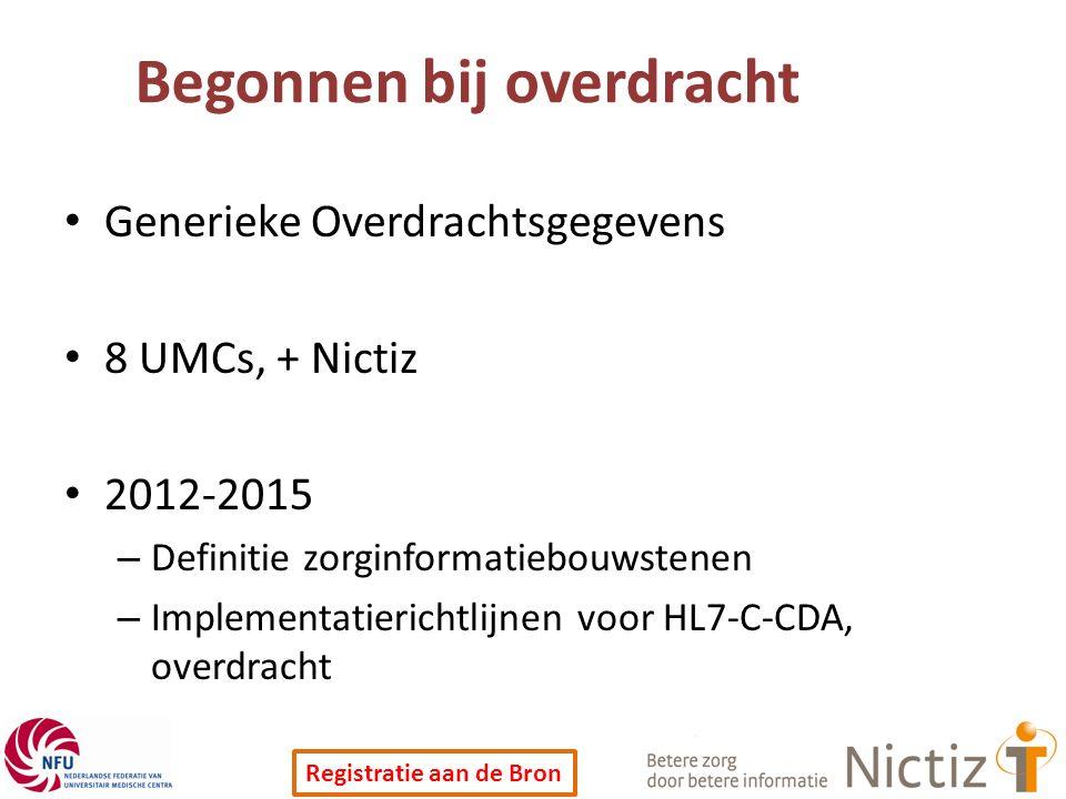Registratie aan de Bron Begonnen bij overdracht Generieke Overdrachtsgegevens 8 UMCs, + Nictiz 2012-2015 – Definitie zorginformatiebouwstenen – Implementatierichtlijnen voor HL7-C-CDA, overdracht