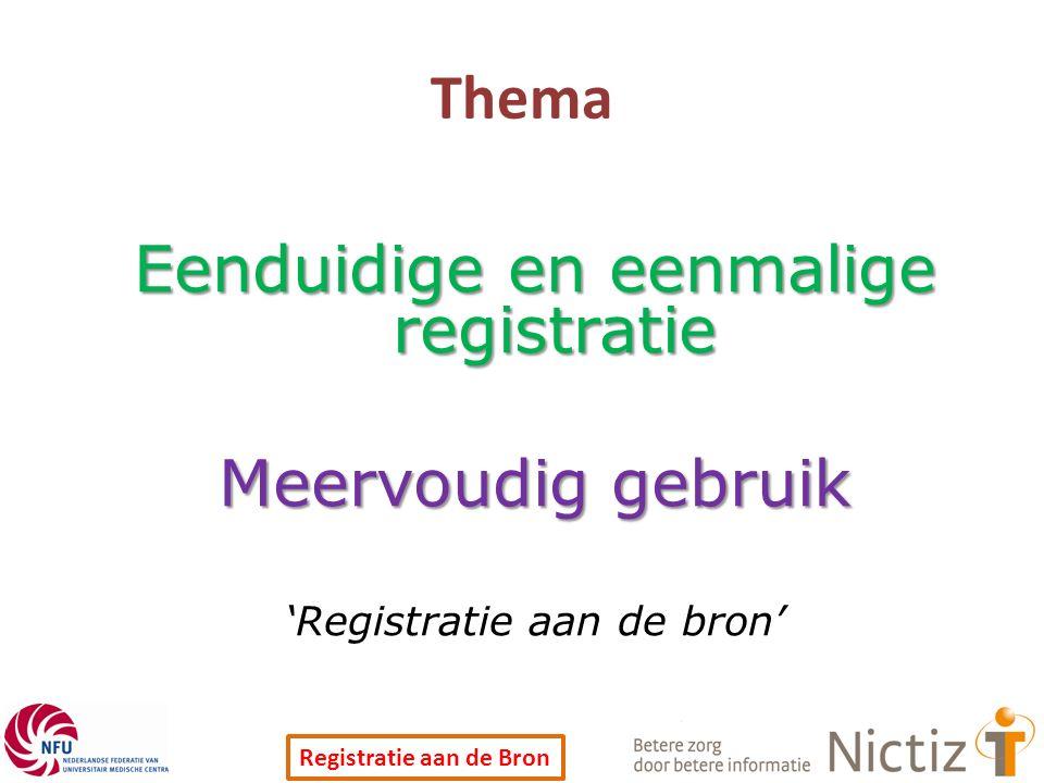 Registratie aan de Bron Thema Eenduidige en eenmalige registratie Meervoudig gebruik 'Registratie aan de bron'