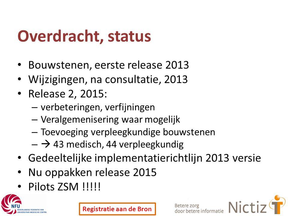 Registratie aan de Bron Overdracht, status Bouwstenen, eerste release 2013 Wijzigingen, na consultatie, 2013 Release 2, 2015: – verbeteringen, verfijn