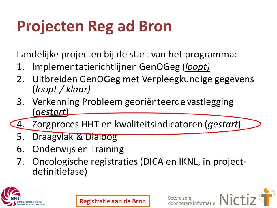Registratie aan de Bron Projecten Reg ad Bron Landelijke projecten bij de start van het programma: 1.Implementatierichtlijnen GenOGeg (loopt) 2.Uitbreiden GenOGeg met Verpleegkundige gegevens (loopt / klaar) 3.Verkenning Probleem georiënteerde vastlegging (gestart) 4.Zorgproces HHT en kwaliteitsindicatoren (gestart) 5.Draagvlak & Dialoog 6.Onderwijs en Training 7.Oncologische registraties (DICA en IKNL, in project- definitiefase)