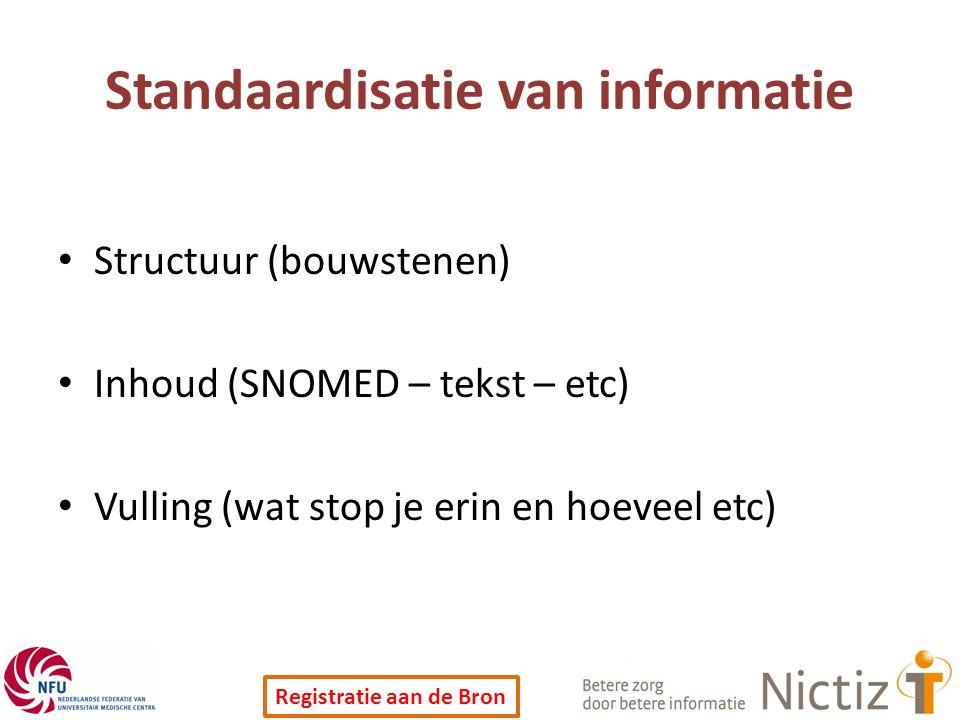 Registratie aan de Bron Standaardisatie van informatie Structuur (bouwstenen) Inhoud (SNOMED – tekst – etc) Vulling (wat stop je erin en hoeveel etc)