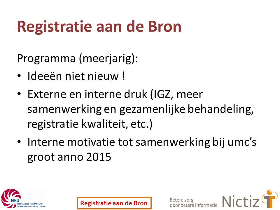 Registratie aan de Bron Programma (meerjarig): Ideeën niet nieuw ! Externe en interne druk (IGZ, meer samenwerking en gezamenlijke behandeling, regist