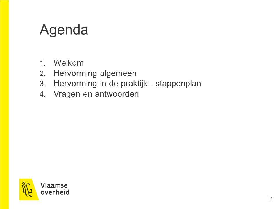 Agenda 1. Welkom 2. Hervorming algemeen 3. Hervorming in de praktijk - stappenplan 4. Vragen en antwoorden │2│2
