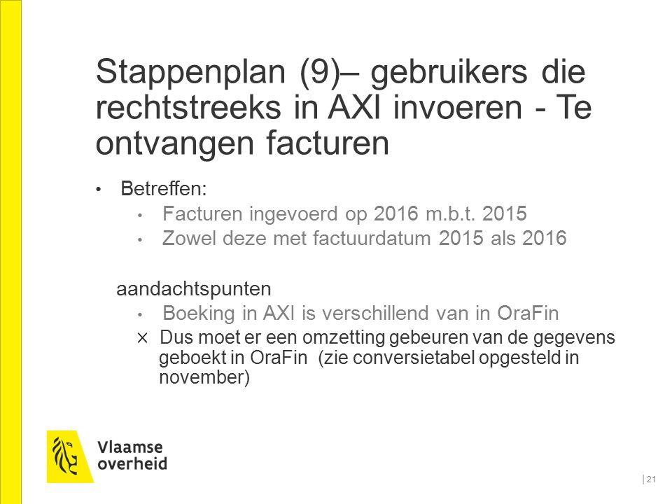 Stappenplan (9)– gebruikers die rechtstreeks in AXI invoeren - Te ontvangen facturen Betreffen: Facturen ingevoerd op 2016 m.b.t. 2015 Zowel deze met
