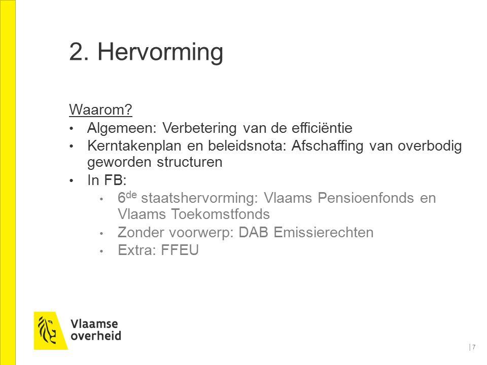 2. Hervorming Waarom? Algemeen: Verbetering van de efficiëntie Kerntakenplan en beleidsnota: Afschaffing van overbodig geworden structuren In FB: 6 de
